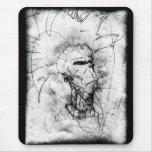 Dibujo blanco y negro del eje de balancín punky de alfombrillas de raton