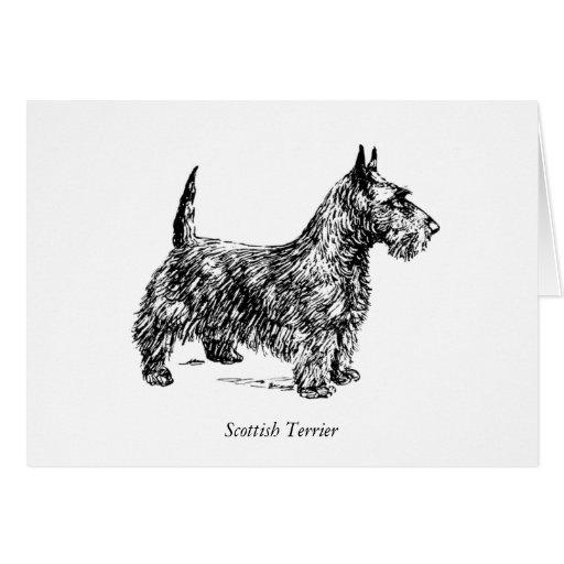 Dibujo blanco y negro del perro de Terrier del Tarjeta De Felicitación