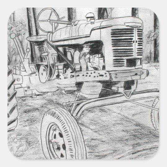 dibujo blanco y negro del tractor del fram pegatina cuadrada