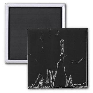 dibujo blanco y negro imán cuadrado