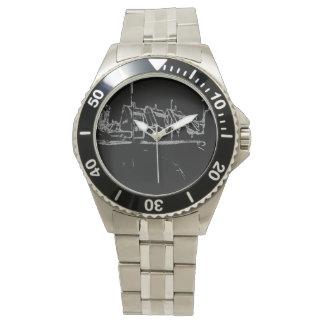 dibujo blanco y negro reloj