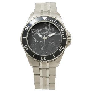 dibujo blanco y negro reloj de mano