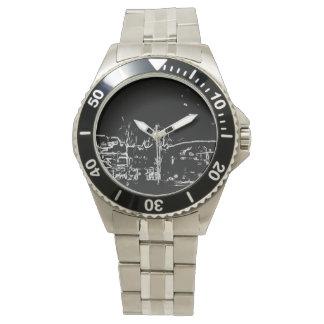 dibujo blanco y negro relojes