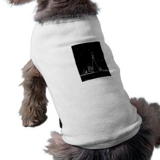 dibujo blanco y negro playera sin mangas para perro