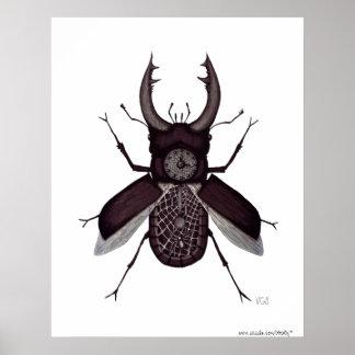 Dibujo blanco y negro surrealista del reloj del es póster