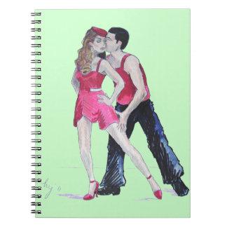 Dibujo bochornoso sensual de los bailarines del note book