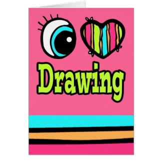 Dibujo brillante del amor del corazón I del ojo Tarjeta De Felicitación