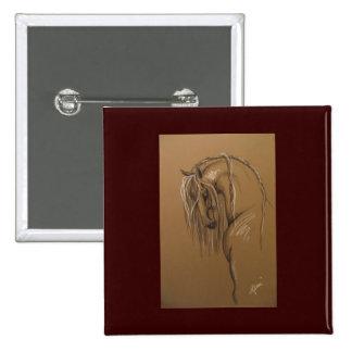Dibujo clásico del caballo pin cuadrada 5 cm