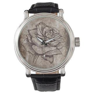 Dibujo color de rosa de la tinta relojes de pulsera
