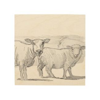dibujo de bosquejo de las ovejas en la madera impresiones en madera