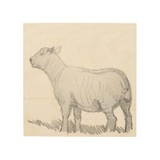 dibujo de bosquejo del lápiz de las ovejas en la m cuadros de madera