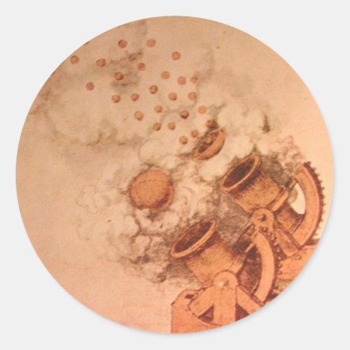 Dibujo de cañones de Leonardo da Vinci Pegatina Redonda