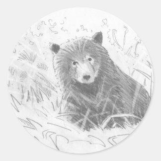 Dibujo de Cub de oso grizzly Pegatina Redonda