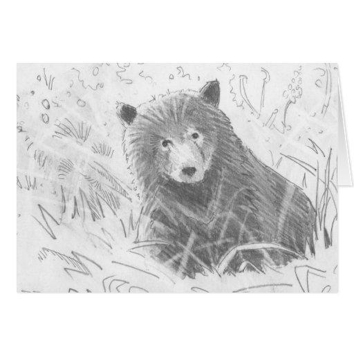 Dibujo de Cub de oso grizzly Tarjeta De Felicitación