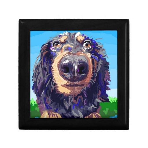 Dibujo de Digitaces del perro de aguas Joyero Cuadrado Pequeño
