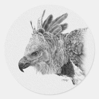 Dibujo de Eagle de Harpy Pegatina Redonda