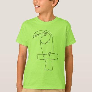 Dibujo de esquema del pájaro de Toucan en las Playera