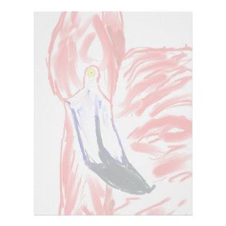 Dibujo de Flamingoe del rosa de la pintura al óleo Membrete Personalizado