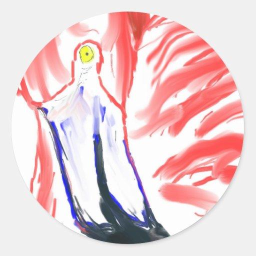 Dibujo de Flamingoe del rosa de la pintura al óleo Pegatina Redonda