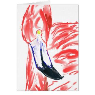 Dibujo de Flamingoe del rosa de la pintura al óleo Tarjeta