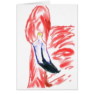 Dibujo de Flamingoe del rosa de la pintura al óleo Tarjeta Pequeña