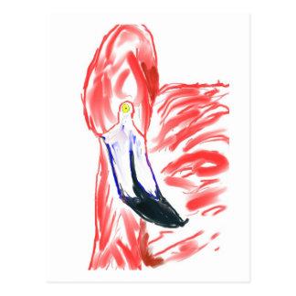 Dibujo de Flamingoe del rosa de la pintura al óleo Postal