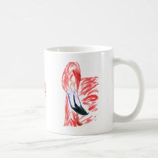 Dibujo de Flamingoe del rosa de la pintura al óleo Taza De Café