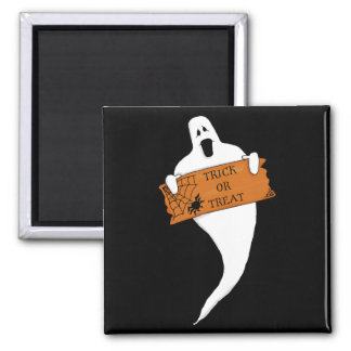 Dibujo de Halloween del fantasma del truco o de la Imán Cuadrado