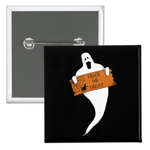 Dibujo de Halloween del fantasma del truco o de la Pin Cuadrada 5 Cm