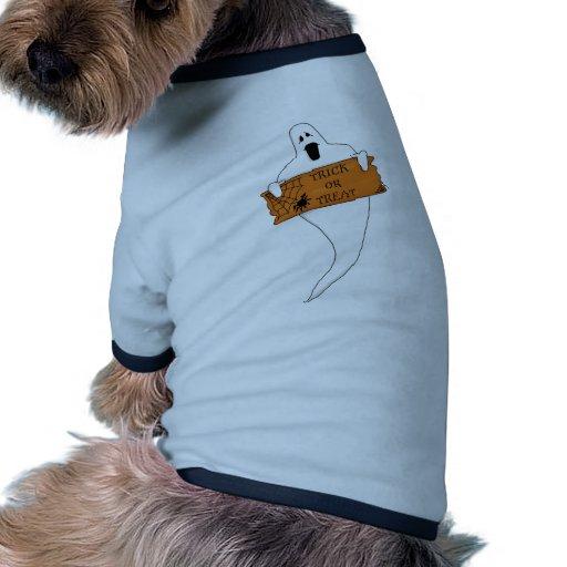 Dibujo de Halloween del fantasma del truco o de la Camisa De Mascota