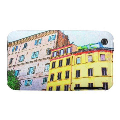 Dibujo de la arquitectura de Roma iPhone 3 Cárcasas