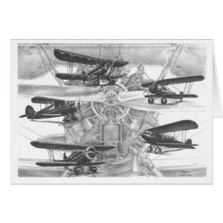 Dibujo de la aviación del biplano de Waco por el c Tarjeta Pequeña