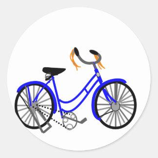 Dibujo de la bicicleta, estilo de los años 50 etiquetas redondas