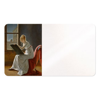 Dibujo de la chica joven tarjetas de visita
