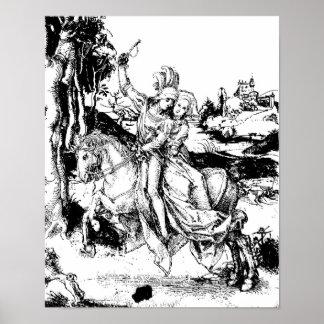 Dibujo de la equitación de Albrecht Durer Póster