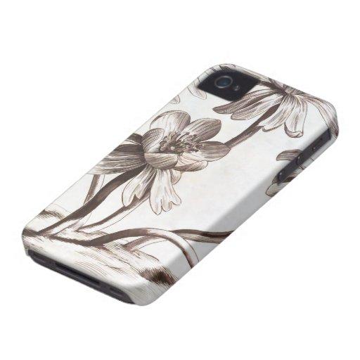 Dibujo de la flor Case-Mate iPhone 4 protector