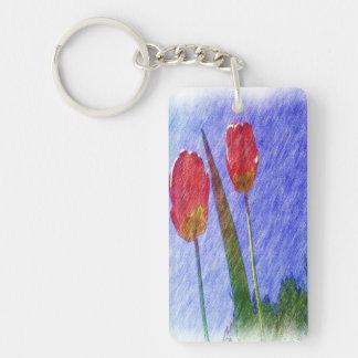 dibujo de la flor del tulipán llavero rectangular acrílico a doble cara