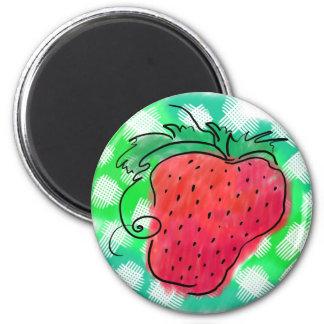 Dibujo de la fresa imán redondo 5 cm