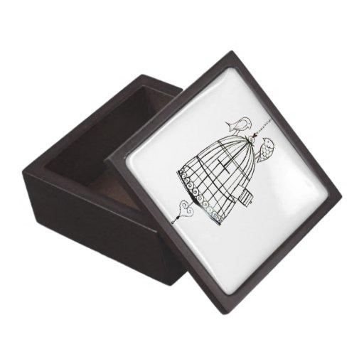 dibujo de la jaula de pájaros cajas de recuerdo de calidad