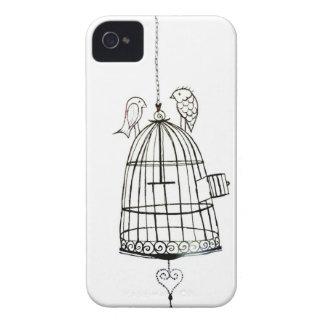 dibujo de la jaula de pájaros iPhone 4 Case-Mate cárcasa