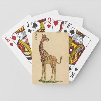 Dibujo de la jirafa del vintage de una tarjeta cartas de póquer