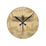 Dibujo de la libélula del vintage relojes de pared