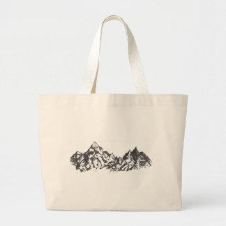 Dibujo de la montaña de la tinta bolsa tela grande