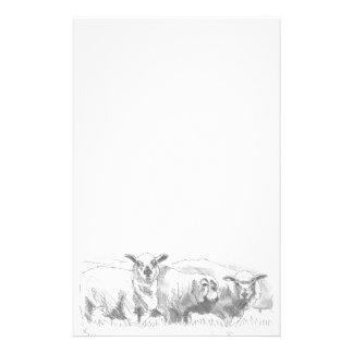 Dibujo de la multitud de las ovejas papelería personalizada