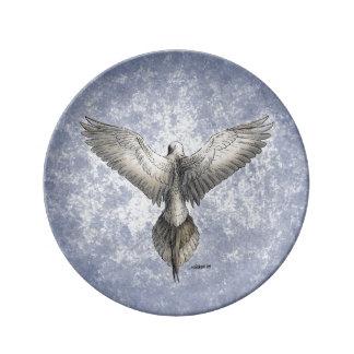 Dibujo de la naturaleza de la paloma en vuelo plato de cerámica