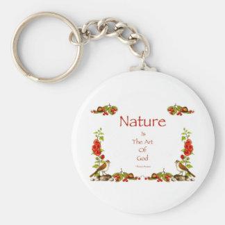 Dibujo de la naturaleza: Pájaros, bayas, castaños  Llavero Redondo Tipo Pin