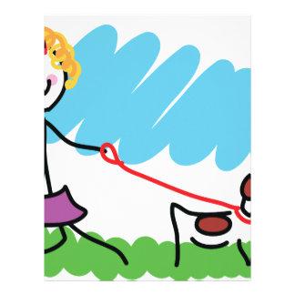 Dibujo de la niña y del perro membrete