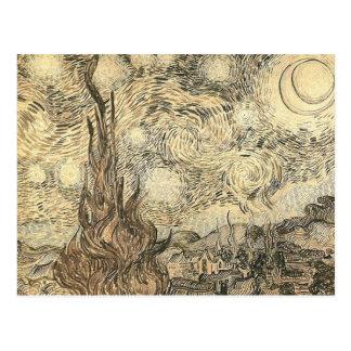 dibujo de la noche estrellada de Van Gogh Postal