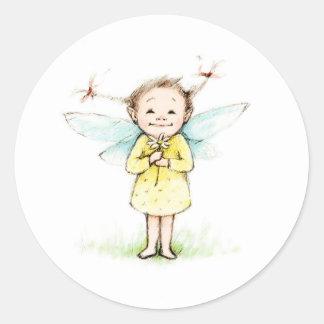 Dibujo de la pequeña hada con la flor pegatina redonda