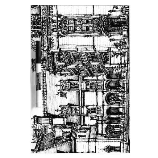 dibujo de la pluma de la arquitectura pizarras blancas